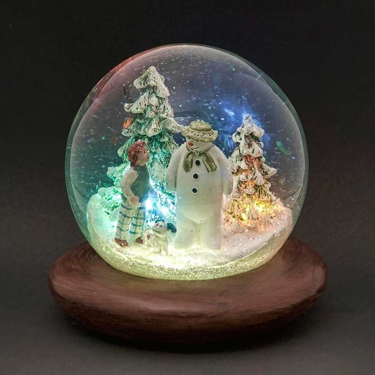 The Snowman The Snowdog Snow Globe With Leds Music Christmas Snowglobe